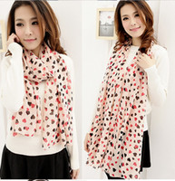 Wholesale Women Chiffon Scarf Wraps Shawl Stole Soft Scarve Sweet Heart Printed