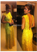 2014 Customer Made Hot Sell High Neck Sexy Backless Yellow P...