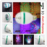 Auto led color bulb - 50pcs white green Shell RGB Full Color W E27 LED Bulb Crystal Auto Rotating Stage Disco Bulb party Stage Light produce beautiful effect