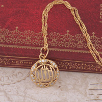 Wholesale 18K Gold Plated Islamic Allah Necklace with Free Matching Chain