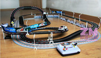 Wholesale electric remote control RC train large speed adjustable double orbit track racing car and train gift toy