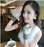Wholesale Winter New Fashion Women Warm Faux Fur Gloves Female Rabbit Hair Knitted Thicken Fingerless Mittens