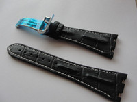 Wholesale Factory Supplier Watch Luxury mm Black Horn Back Leather Strap Band c w Deployant Clasp Fit For AP Royal Oak Offshore Mens Men s Watches