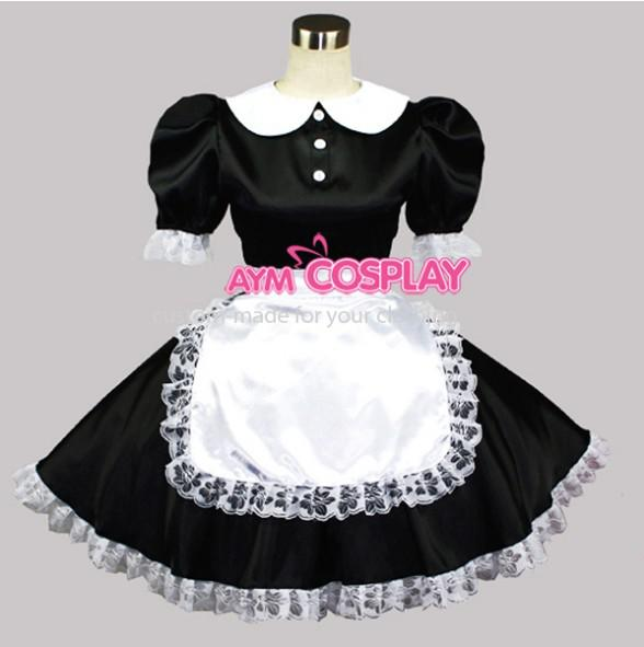 See larger image - New Arrival Sissy Maid Satin Lace Dress Uniform Gothic Lolita