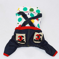 dog pajamas - Pet Dog Clothes Polka Dotted Jeans Jumpsuit Pajamas Teddy