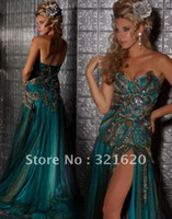 Reference Images Sweetheart Chiffon Sweetheart Peacock Prom Dress with Slit and Rhinestones Embroidery Prom Gowns Evening Dresses H-507