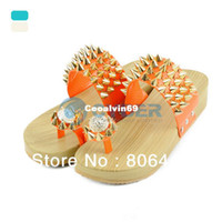 Women Spool Heel Adult Roman Style Women's Punk Style Metal Rivet Bird's Nest Thong Female Wedges Slippers Casual Clothing Sandals 15761