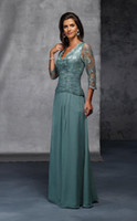 Wholesale 2014 NEW Long Sleeves Lace Custom Made Dark Green V Neck Sheath Column Floor Length Mother of the Bride Dresses with Lace Beads WE2236