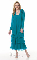 Wholesale Cheap Chiffon Ankle Length Sheath Elegant Fashion Vintage Scoop Turquoise Purple Mother Of The Bride Dresses With Jacket
