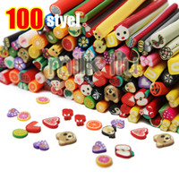 Wholesale Mixed Different Designs Nail Art FIMO Polymer Clay Cane Sticks Rods Sticker Fruit Flower D Decorative Slice Tips cm Length