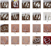 Wholesale style mixed pairs Jewelry high quality sterling silver Ear hoop earrings fashion gifts