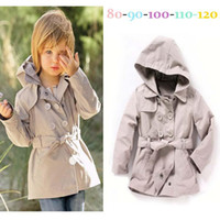 Wholesale Hot Sale New Children s windbreaker Girls hooded jacket belt out long version baby coat