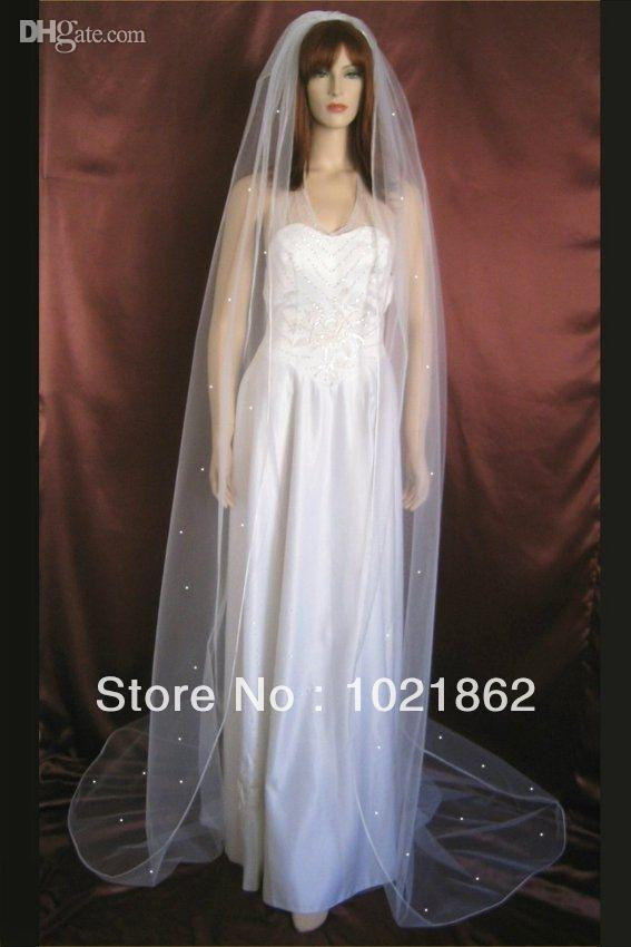 Cathedral length rhinestones bridal veils long tulle for Veil for champagne wedding dress