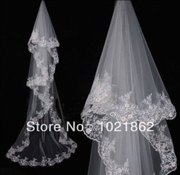 Wholesale Custom Made Charming Elegant Cathedral Wedding Bridal Veil Chic Lace Edge Long Train m AL0135