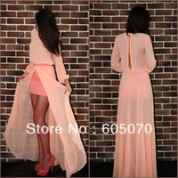 Cheap Top Selling Scoop Neckline Full Sleeve Floor Length Straight Chiffon Prom Dresses 2014 New Arrival Women Party Evening Dress