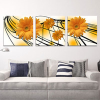Cheap 3 Pieces Modern Wall Oil Painting Abstract LargeYellow chrysanthemums Flower Wall Art Picture Paint on Canvas Prints YX-125