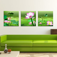 More Panel Printed Oil Painting  Fashion Hot Sell 3 Panels Modern Wall Painting Lotus flowers Picture Home Decorative Art Picture Paint on Canvas Prints YX-1185