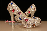 Pumps High Heel Round Toe Luxury rhinestones Crystal lady's formal shoes Jeweled High heels Women's Beaded Bridal Evening Prom Party Wedding Dresses Bridesmaid Shoes