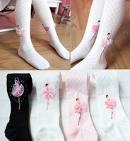 Wholesale EMS Vintage Baby Kid Children Girl Princess Ballerina Lace Ballet Diamond Pattern Collant PantyhoseTights sock C0070
