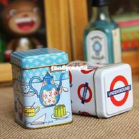 Bamboo wholesale tea tins - Portable mini tin tinplate tin toothpick tank storage small box iron leather box tea caddy
