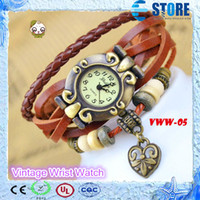 Fashion red bull - Genuine Leather Vine Watch bracelet4 colors available Fashion Ladies handmade weave wristwatch Bull horn dial with love heart design M