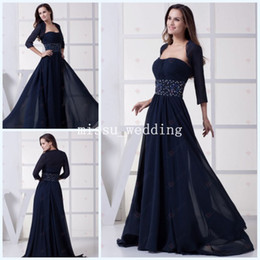 Wholesale Elegant Plus size Strapless A line Ruched Beaded Sweep train Chiffon Mother of the bride Dresses with long sleeve Jacket