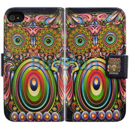 Wholesale Bcov Green Owl Bird Card Slot Wallet Leather Cover Case for iPhone S