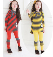 Spring / Autumn best kids wear - 2014 Spring NEW ARRIVAL Best Quality Children Clothing Pure Cotton Stripe Dress Leggings Girls Set Kids Suit Outfits Wear QZ299