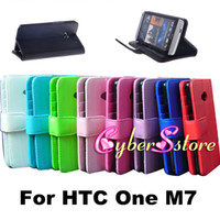 Wholesale 100pcs Luxury Photo Frame Photoframe Wallet PU leather Case Cover With Credit Card Slot Slots Pouch For HTC One M7