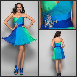 Wholesale Affordable A line sweetheart colorful beads sash sequins ruffle mini dresses prom dresses evening dresses online