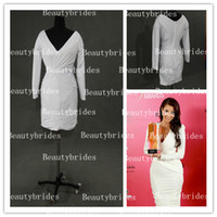 Wholesale 2014 Sexy V Neck Long Sleeves Kim Kardashian Cocktail Dresses Real Image Knee Length Hollywood Style Awards Pageant Dresses B