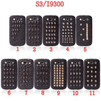 Wholesale Mixed designs Punk Style PU Rivet Phone Case Mobile Phone Protective Cell Cover For Samsung Galaxy i9300 i9500 Iphone4 S DHL Free Shiping