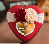 Wholesale Sweet box of european style heart shaped tin box of candy box wedding candy box