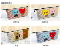 Wholesale hot children bag pencil bag cartoon bag cat bag Storage bag Pencil Case Stripe Cats