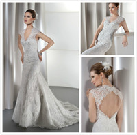 Cheap 2015 New Demetrios Beads Lace Sheath Bridal Gown with Cap sleeve Mermaid V Neck White Dress Backless Chapel Train Wedding Dresses