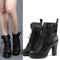 Wholesale Hot Sale Woman s Black Real Leather Lace UP anti skid Thick High Heels Boots P38 socool2010