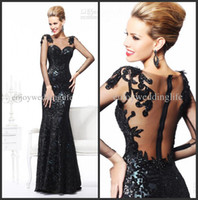 Wholesale 2014 Sexy New Sheer Long Sleeves Sequins Mermaid Evening Dresses Tulle Applique Beaded Floor Length Prom Gowns TE92105