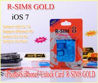 Wholesale Original Gevey R SIM GOLD RSIM8 R SIM8 For Unlock iphone S Dual Sim Card iphone S iOS iOS7 GSM CDMA WCDMA