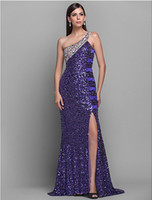 Wholesale Pageant Dresses Hot sale Sexy One shoulder Evening Dresses Sequin Rhinestone Beaded Sweep Brush Y20141010