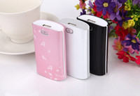 5600mAh 200g 90*52*23mm 5600mah Flower show light Mobile Phone ipad Power Bank Emergency External Battery Charger panel USB for iphone 5S 5 4S 4 Galaxy S3 S4