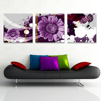More Panel Printed Oil Painting  Fashion 3 Piece Free Shipping Hot Sell Modern Wall Painting Purple Flowers Home Decorative Art Picture Paint on Canvas Prints YX-651