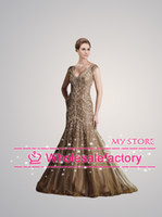 Wholesale 2014 New Mother of the Bride Dresses V Neck Cap Sleeves Backless Long Mermaid Evening Gowns Formal Dresses D59