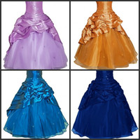 Wholesale Flower Girls Dresses White Ivory Purple Turquoise Blue Gold Black Princess Floor Length Pageant Gowns Spaghetti Beads Layered Sequin Taffeta