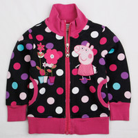 Wholesale F4332 Nova kids clothes m y baby sweatshirts girls peppa pig flower fleece hoodies polka dots printing autumn winter jackets
