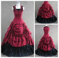 Wholesale 2015 New Victorian Charming Bow Ruffles Ball Gown A Line Bateau Black and Red Taffeta Dress Floor length Wedding Dresses