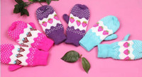 Wholesale 1 Pair Cute Women Lady Strawberry Thick Wool Knitted Warm Gloves Mittens Lining