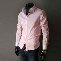 Wholesale S5Q New Mens Long Sleeve Luxury Casual Slim Fit Stylish Dress Shirts Colors Size AAACKP