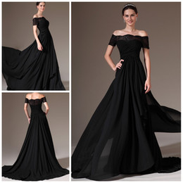 2014 New arrival Black long evening dress Off the shoulder A line Brush chiffon with Short sleeves Brush Prom gowns Plus size pageant dress
