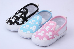 Discount baby canvas skull Canvas Baby Shoes Toddler Children Shoes Skull Pattern Color Choose DNN