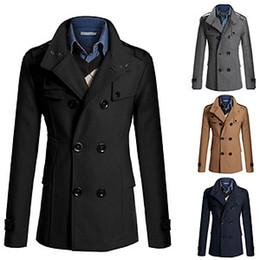 Wholesale Men Double Breasted Trench Pea Coat Jacket Overcoat Coat Tops Outwear Colors